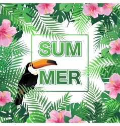 Summer tropical background with palm leaves vector