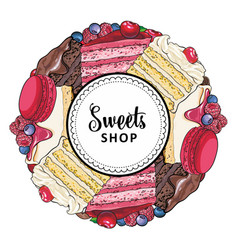 sweets shop banner with cakes and cookies vector image