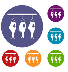 Three dried fish hanging on a rope icons set vector