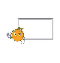 Thumbs up orange fruit cartoon character with vector