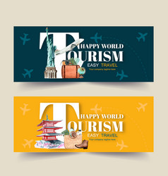 Tourism day banner design with sculpture map vector