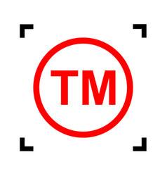 Trade mark sign red icon inside black vector