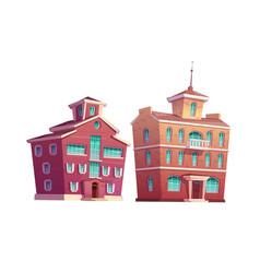 Urban retro building cartoon set vector