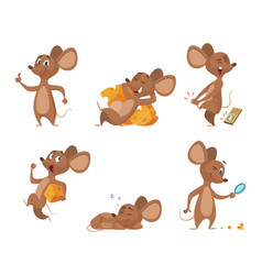 various characters of mice in action poses vector image