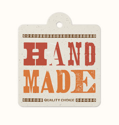vintage letterpress printed hanging label hand vector image