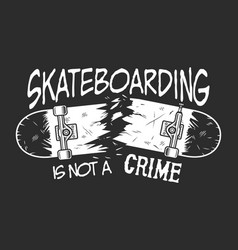 Vintage skateboarding monochrome badge vector