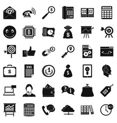 viral marketing icons set simple style vector image