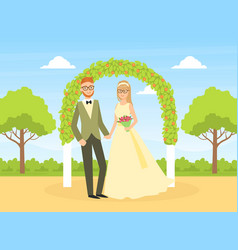 wedding ceremony happy couple newlyweds vector image
