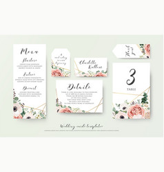 Wedding menu information label table number set vector