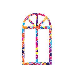 window simple sign stained glass icon on vector image