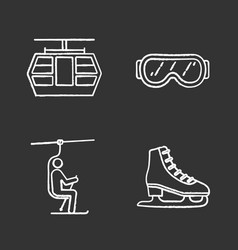 Winter activities chalk icons set vector