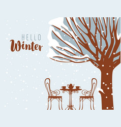 Winter street cafe under tree with inscription vector