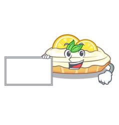 With board cartoon lemon cake with sugar powder vector
