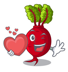 with heart beetroot with leaves isolated on mascot vector image