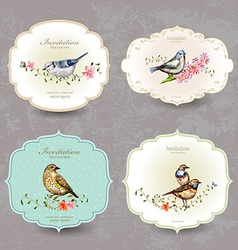 collection retro label of cute bird watercolor vector image vector image