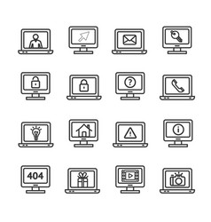 computer screen symbols with signs black thin line vector image vector image