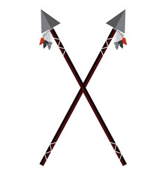 crossed two spear native american indian weapon vector image vector image