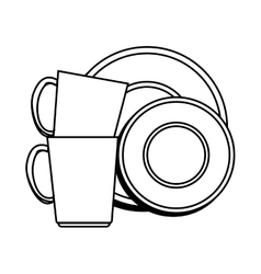 dishes and cups isolated icon vector image