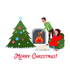 happy couple celebrating christmas near fireplace vector image vector image
