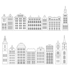 Line drawing houses vector