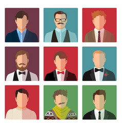 male avatar icons in different costume vector image
