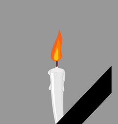 mourning frame black ribbon candles and tape vector image