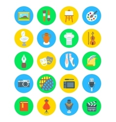 Art and crafts flat round icons set vector image