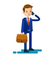 cartoon businessman talks by phone vector image
