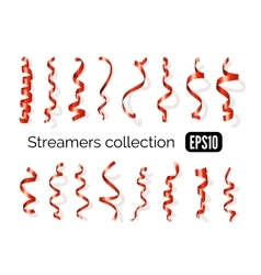 Collection of red streamers and party ribbons vector image vector image