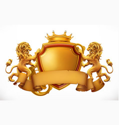 crown lions and shield 3d icon vector image vector image