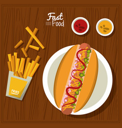 poster fast food in kitchen table background with vector image