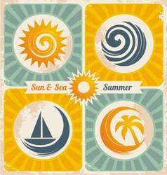Retro summer holiday poster vector