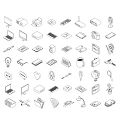 Computer technology and office equipment vector image vector image