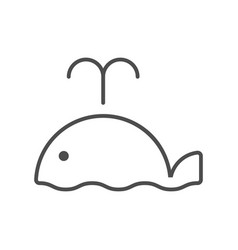 line style icon with cute whale vector image vector image