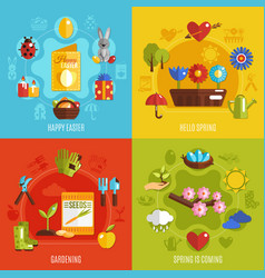spring easter 2x2 icons set vector image vector image