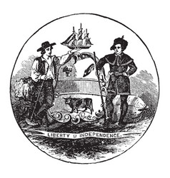 the official seal of the us state of delaware in vector image