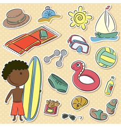 African-American boy with summer vacation objects vector image vector image