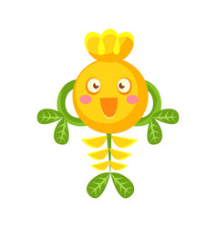 cute fantastic smiling yellow plant character vector image vector image