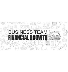 financial growth concept with business doodle vector image