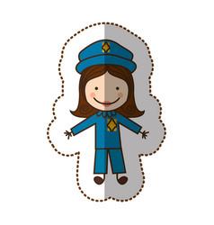 happy woman police icon vector image