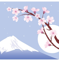 Mount Fuji moon and branches of sakura vector image vector image