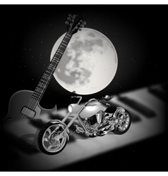 Rock music background with moon vector image