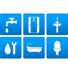 set of plumbing icons vector image vector image