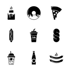 snacks icons set simple style vector image vector image