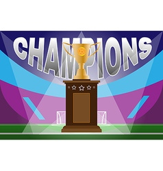 Soccer Golden Cup on the stand vector image vector image