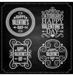 valentines day chalk set vector image