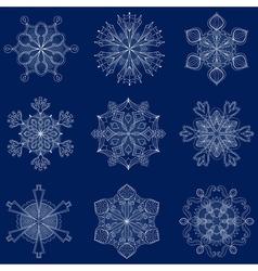 vintage snowflake set in zentangle style 9 vector image