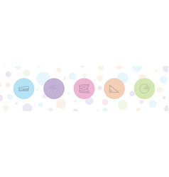5 stationery icons vector