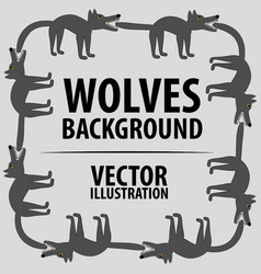 background with wolves cartoon flat characters vector image