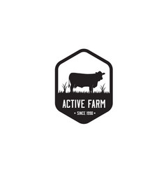 Black farm logo template vector